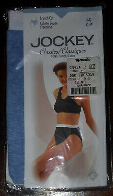 NWT Vtg 90's Jockey French Cut Signature Band High Leg Blue Panty Size 7 Large