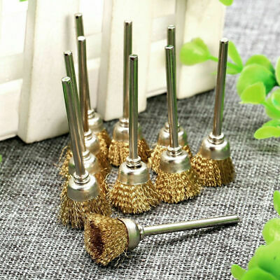 5 pcs/set 3mm Rotary Tool Steel Wire Cup Brushes  3mm Shank Cleaning Finishing