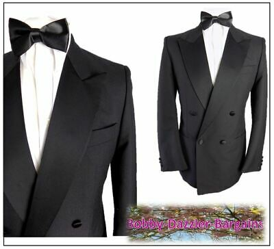"Burton / M&S Mens Double Breasted Black Dinner Tuxedo suit Ch40""R W32"" L29"" Prom"