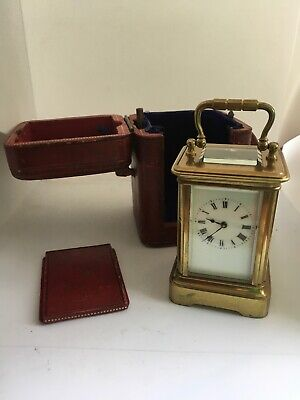 Old Miniature French Brass Carriage Clock Red Morrocco Case Cylinder Escapement