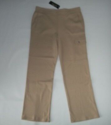 RALPH LAUREN Active Stretch Ponte Knit Pull On Tan Cargo PANTS Womens LARGE NEW