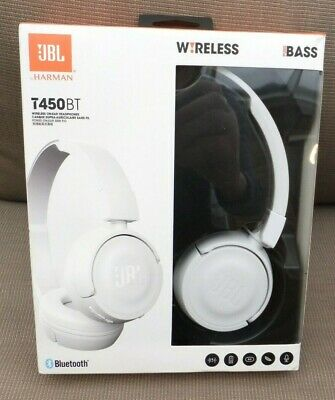 JBL T450BT Bluetooth Wireless Headphones White With Pure Bass Sound, Mic NEW