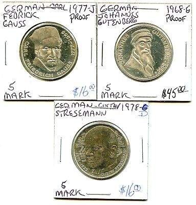 1968-g - 1977-j - 1978-d - German - 3 Coin Lot - 5 Marks - Very Nice !!!