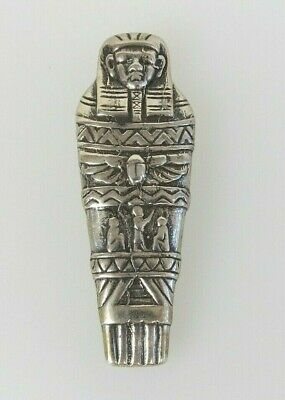 Sterling Silver Egyptian Pharaoh Ramses Tapers  Mummy King revival brooch pin