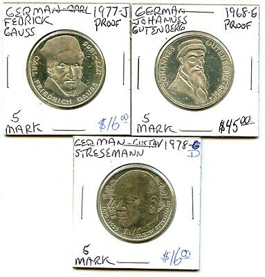 1968-g - 1977-j - 1978-d - German - 3 Coin Lot - 5 Mark - Very Nice !!