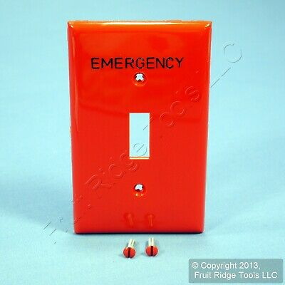 Leviton Red EMERGENCY Unbreakable Toggle Cover Wall Plate Switchplate 80701-RE