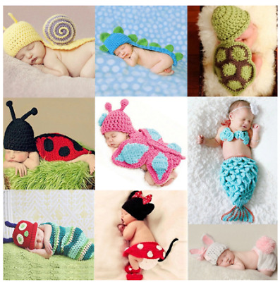 Newborn Baby Crown Girls Boys Crochet Knit Costume Photography Props Hat Accs 6L