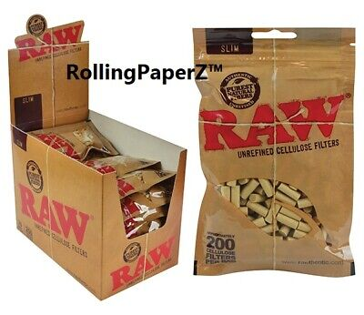 BUY ONE BAG (200 COUNT) RAW Rolling Paper SLIM CELLULOSE CIGARETTE FILTERS