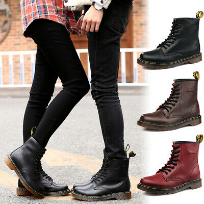 Women Men Classic Boots Lace Up Combat Army Military Ankle Booties Leather Size