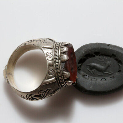 Near East Roman Era Massive Decorated Seal Ring With Gemstone Circa 100-400 Ad