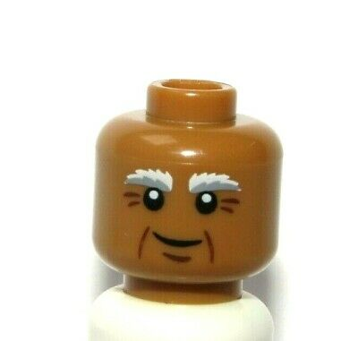 1 X Lego 3626bp7a Head Male Brown Hair over Eye and Black Eyebrows Pattern