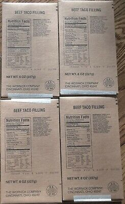 Lot of 4 Beef Taco Filling MRE Entrees, Meals Ready to Eat