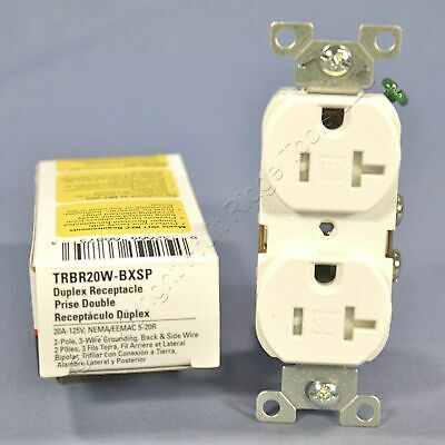 Cooper White COMMERCIAL Tamper Resistant Duplex Receptacle Outlet 20A TRBR20W