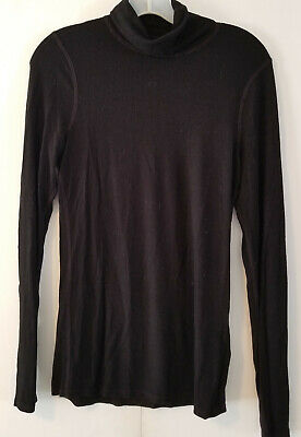 Three Dots Womens Black Turtleneck Top Knit Long Sleeve Size Large L - Very Nice