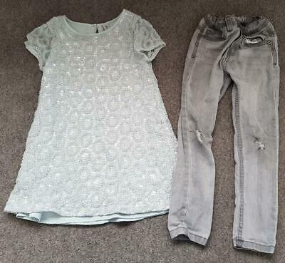 Girls 2 Piece Outfit, Long Line Sequin Top/Grey Jeans, 5-6 Years