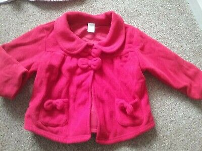 Next Baby Girls Red Fleece Coat Jacket Bow Detail Buttons