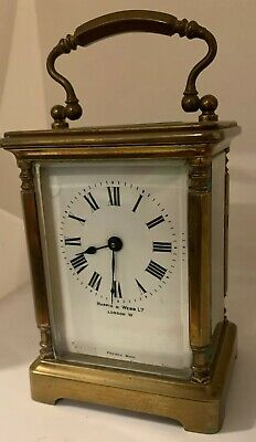 Antique Brass Case French Mappin & Webb Carriage Clock c1910