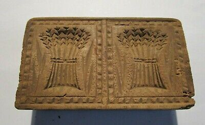 Antique Hand Carved Folk Art Wooden Butter Print Mold Press Wheat Sheaves