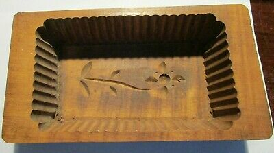 Antique Hand Carved Folk Art Wooden Butter Print Mold Press Box Flower