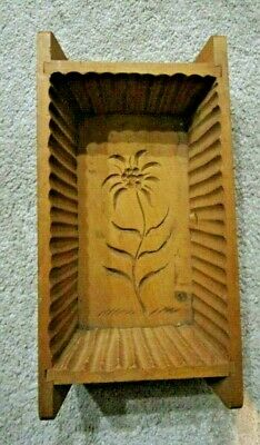Antique Hand Carved Folk Art Wooden Butter Print Mold Press Box Flower Signed
