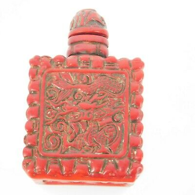 Antique Chinese 1900 red lacquer Cinnabar box snuff bottle Dragon décor
