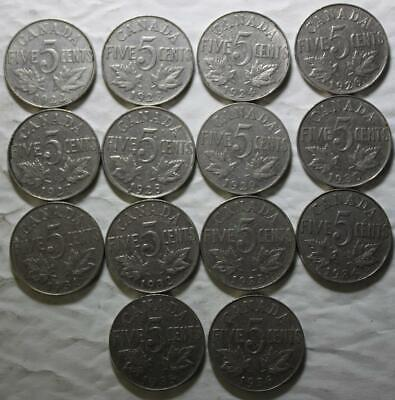 Canada 1922-1936 5 Cents Date Set, 1926 N6 Included, 14 Coins, Old KGV Dates