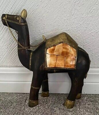 Hand Carved Dark Wood Camel Figurine / statue Rare With Inlay (see Details)
