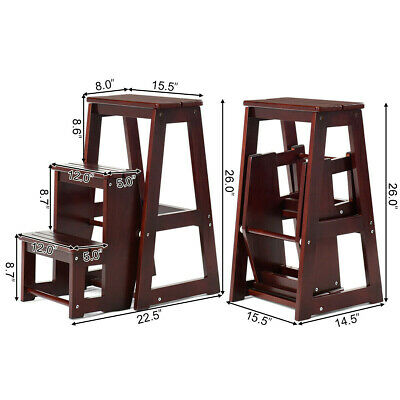Step Stool Ladder Folding Wood  3 Step Ladder Foldable 200lbs  Support