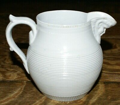 Antique 19th Century Mintons Salt Glazed Ribbed Creamer with Figural Spout