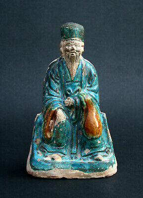 Antique Chinese Pottery Figure Court Official Ming Dynasty - French Flea Market