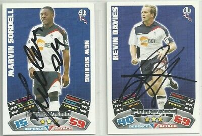 2 x Signed BOLTON WANDERERS 2011-12 Match Attax Cards [Black]