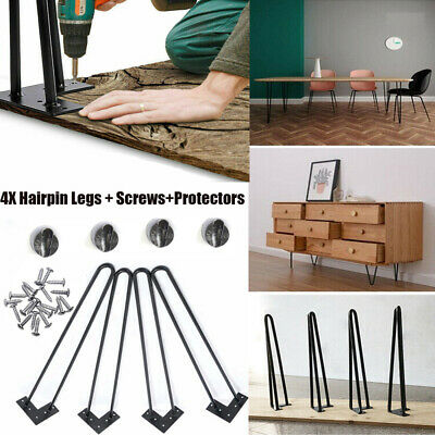 """4X Hairpin Table Legs Size 4"""" - 16"""" 10mm with Free Floor Protector Feet UK Stock"""