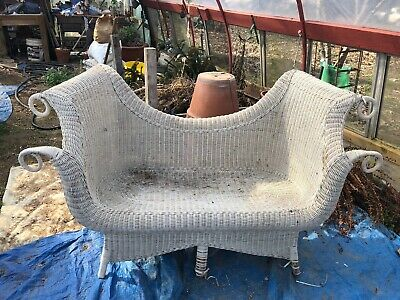 Antique 1899/1900 Very Ornate Victorian White Photographers Wicker Settee,