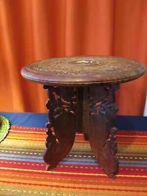 Vintage Made in India Sheesham Wood Hand Carved Table (folds) Inlay Taj Mahal