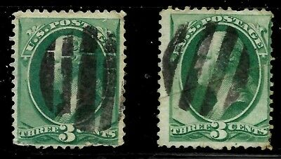 """Fancy Cancel """"2 Nice Bold Grids"""" SON 3 Cent Green Banknote 1871-1883 US 68C25"""