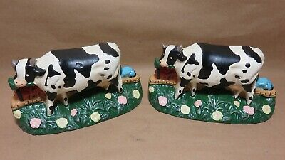 Holstein Cows /Cast Iron Holstein Cow Door Stop / Bookends / Lot of 2