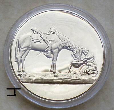 "Cowboy Horse 24K Gold on Bronze Art Medal ""The Last Drop"" Charles Schreyvogel"