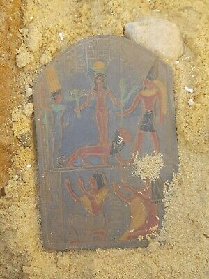 Rare Antique Ancient Egyptian Magic Stela lion Protection War 1730-1650 BC