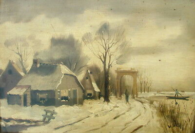 EASTERN EUROPEAN 19thC. OIL WINTER LANDSCAPE WITH FIGURES & BOAT SIGNED