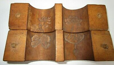 Antique HAND CARVED FOLK ART WOODEN BUTTER PRINT MOLD PRESS UNUSUAL TUBE DESIGN