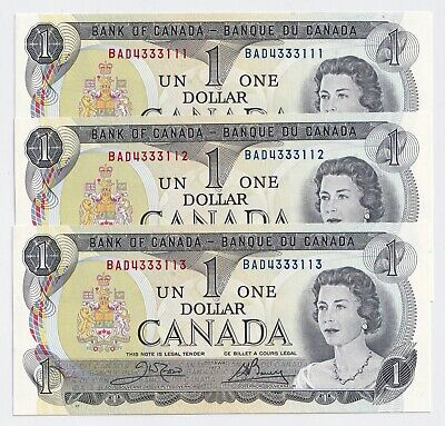 3  x Sequential 1973 $1 Bank of Canada Notes  COOL SERIAL #s Crow Bouey UNC