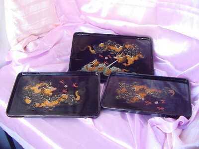 Antique 3 Chinese Hand Painted Dragon Black Lacquer Nesting Trays Vintage Set Nr
