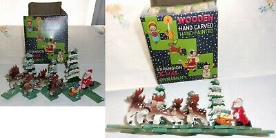 Vintage Wooden Hand Carved Hand Painted Expansion Christmas Ornament