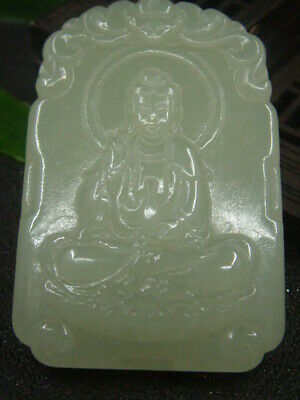 Antique Chinese Nephrite Hetian -OLD jade KUANYIN Statue/Pendant