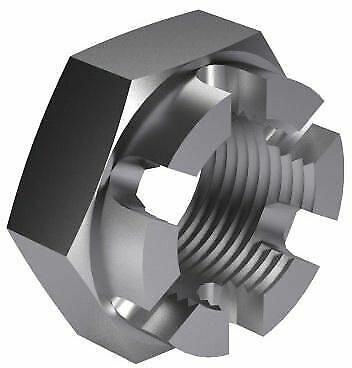 50x Hexagon thin slotted and castle nut DIN 979 Steel Plain 04 M14