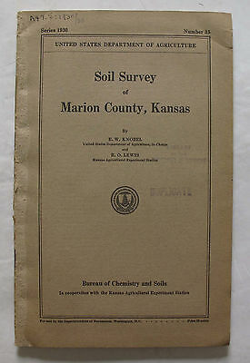 Folded Color Soil Survey Map Marion County Kansas Florence Peabody Hillsboro