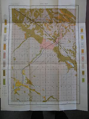 Original 1903 Color Folding Soil Survey Map Marshall Minnesota Lyons Sodus