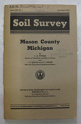 Folded Color Soil Survey Map Mason County Michigan Ludington Scottville Custer