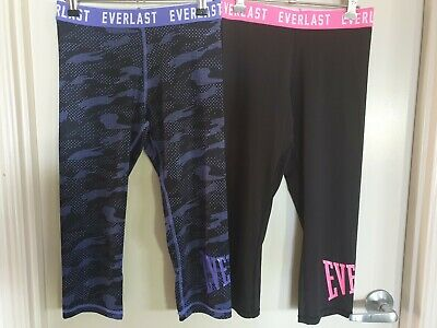 GIRLS SIZE 12~EVERLAST print 3/4 Leggings x 2 Pairs~NEW COND~FITNESS