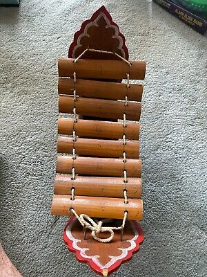 Vintage Handmade Wooden Boat, Bamboo Xylophone From Thailand
